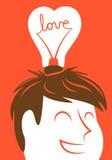 Love lightbulb in shape of heart Stock Image