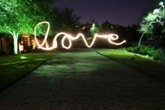 Love Lightpainting. A light painting with the word written Royalty Free Stock Photography