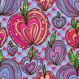 Love like apple seamless pattern. This illustration is design and drawing abstract love like apple in purple and red colors background and seamless pattern Royalty Free Stock Image
