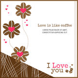 Love is like coffee card background banner with heart and coffee Stock Images