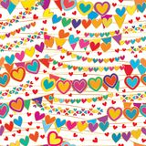 Love like a flag hang seamless pattern. This illustration is design love like a flag hang with golden lines decoration in seamless pattern on white color Stock Images