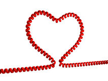 Love line. Illustration of heart made from phone cord Stock Photos