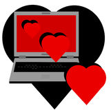 Love On-line. A laptop computer with a love on-line theme. Vector file is in AI-EPS8 format