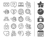 Love line icons. Couple, Romantic and Heart. Love line icons. Couple, Romantic and Heart signs. Valentines day symbols. Divorce or Break up. Bonus classic signs Royalty Free Stock Photo