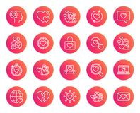 Love line icons. Couple, Romantic and Heart. Love line icons. Couple, Romantic and Heart signs. Valentines day symbols. Divorce or Break up. Trendy gradient Stock Photography