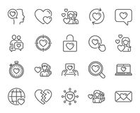 Love line icons. Couple, Romantic and Heart. Love line icons. Couple, Romantic and Heart signs. Valentines day symbols. Divorce or Break up. Quality design Stock Photography