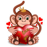 Love the little monkey with the heart Stock Images