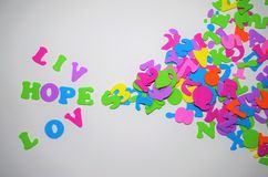 Love Frame for writting a message space for writting Live Hope. Love Live Hope Quote Quotes Top view Horizontal Image Inspiration Words of Inspiration royalty free stock photos