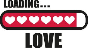 Love is Loading with Loading bar. Vector Stock Photos