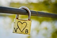 Love lock. A love lock attached to a bridge in Prague,Czech Republic Stock Photo