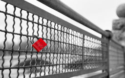 Love lock on bridge as symbol of infinite true love Stock Photos