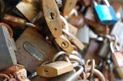 Love lock on a bridge Stock Photo