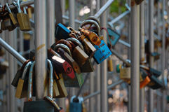 Love lock on a bridge Royalty Free Stock Images