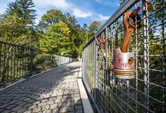 Love lock on the bridge royalty free stock photos