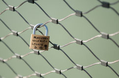 Love lock on a bridge Stock Images