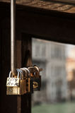 Love lock on the bridge of venice. Shoot in a bridge of venice, Italy Stock Images