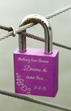 Love lock at the Brooklyn Bridge Stock Photography