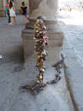 Love lock chain in Florence Royalty Free Stock Photo