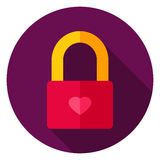 Love Lock Circle Icon Stock Images