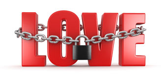 Love and lock (clipping path included) Royalty Free Stock Image