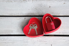 Love Lock in Heart Box Royalty Free Stock Photography