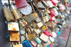 Love lock. With names in Europe Stock Photo