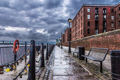 Love lock quayside. Image taken shortly after a storm of the quayside Stock Images