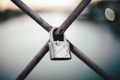 Love lock on the San Telmo Bridge in Sevilla, Spain Stock Photo