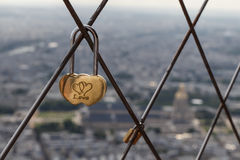 Love lock on top of Eiffel Tower. Lock on top of Eiffel Tower with love engraving Royalty Free Stock Images