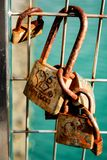 Love locked on fence stock image