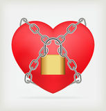Love locked heart shape with chains Stock Images