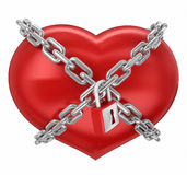 Love locked heart shape with chains Royalty Free Stock Photo