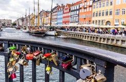 Love locker bridge Copenhagen habour. July 2016.  Copenhagen harbour Nyhavn. The keys were thrown into the water Royalty Free Stock Photo