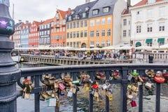 Love locker bridge Copenhagen harbour. July 2016. Love padlocks Nyhavn Copenhagen. The keys were thrown into the water Royalty Free Stock Images