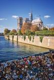 Love lockers on a bridge, Notre Dame de Paris Royalty Free Stock Photography