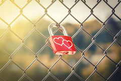 Love Lockers with soft light style Royalty Free Stock Photography
