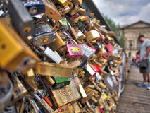 "Love locks on ""Pont des Arts"" bridge in Paris, France Royalty Free Stock Photography"