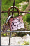 Love locks. In Monreale. Sicily. Lovers lock their love with the lock royalty free stock photography
