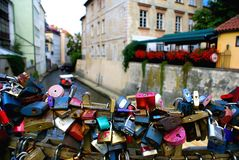 Love Locks along the canal near the Charles Bridge in Prague Royalty Free Stock Photo
