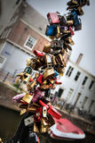 Love locks of Amsterdam Stock Photo