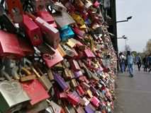 The love locks being fullfilled attached on hohenzollern bridge Stock Photography