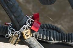 Love Locks in Berlin. Weidendammer Bridge in Berlin with locks of love Royalty Free Stock Photography