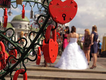 Love locks with bride Royalty Free Stock Photos