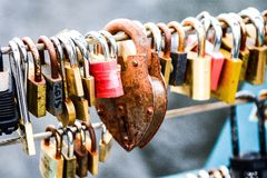 Love locks. On a bridge royalty free stock photo