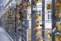 Love locks bridge stock photos