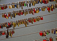 Love-locks on a bridge in Bamberg, Germany Royalty Free Stock Photography