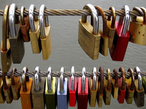 Love-locks on a bridge in Bamberg, Germany Stock Photography
