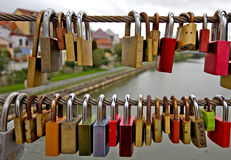 Love-locks on a bridge in Bamberg, Germany Royalty Free Stock Photos