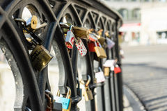 Love locks on a bridge close up Stock Photo