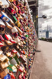 Love locks on bridge at Cologne in Germany Royalty Free Stock Photography